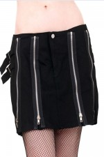 ADF761 Cotton Short Skirt with Zips
