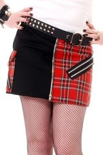 ADF931 Black and Red Tartan Bondage Split Skirt