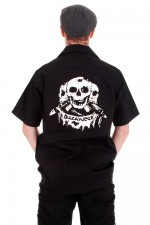 BBH904 Discharge 3 Skulls Mens Work Shirt