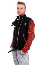 CBF716 Black Cotton Zipped Jacket with Red Tartan Sleeves