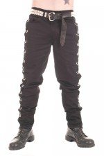 CCF780 Black Cotton Trousers with Large Eyelets and Lace Sides