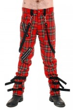 CCF794 Tiger of London Strap Bondage Tartan Pants