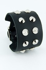 2 Row Conical Stud Leather Wristband