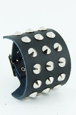 3 Row Conical Stud Leather Wristband.