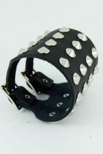 4 Row Conical Stud Leather Wristband.