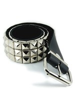 DEB101 3 Row Pyramid Stud Black Leather Belt