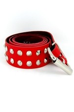 DEB125 Red Leather 2 Row Conical Stud Belt