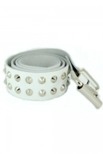 DEB128 White Leather 2 Row Conical Stud Belt