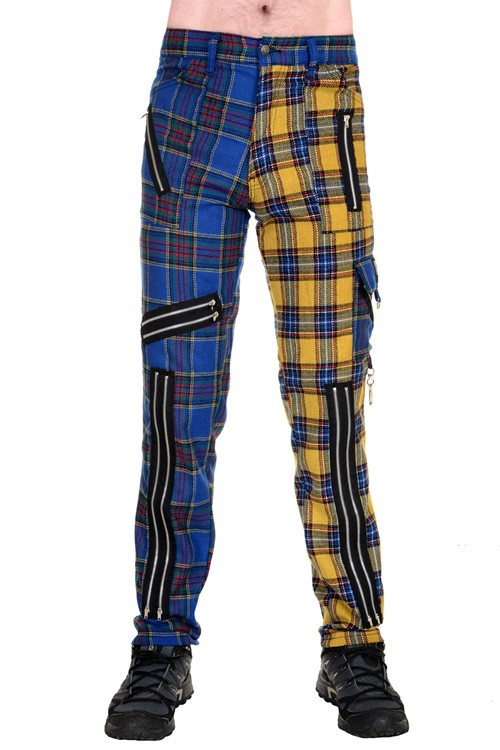 CCF800-BLY Blue and Yellow Zip Bondage Split Leg Pants