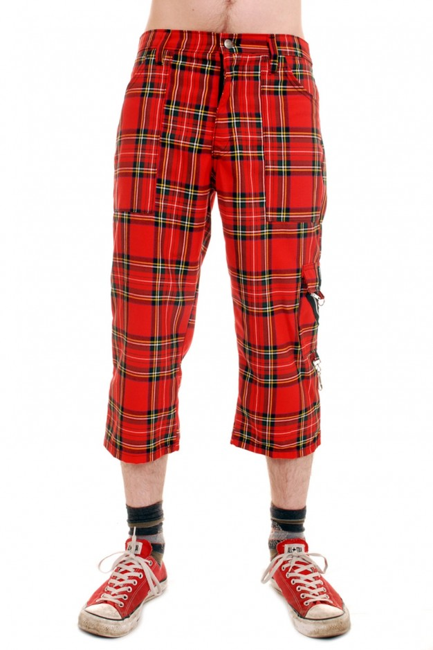 CCF818 Punk Rock Zip Bondage Tartan 3/4 Pants