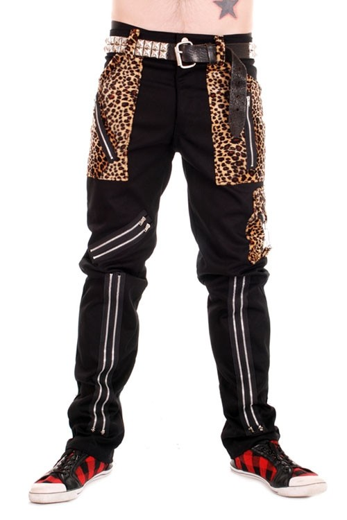 CCF849 Tiger of London Zip Bondage Pants in Black Cotton with Leopard Trim
