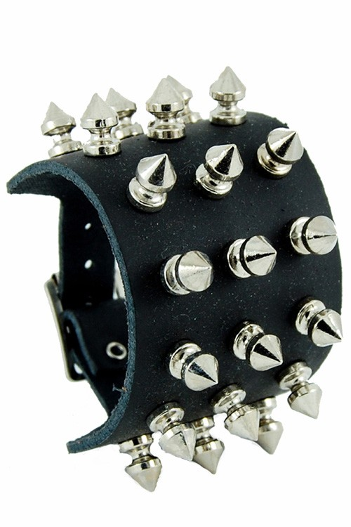 3 Row Spike Stud Leather Wristband