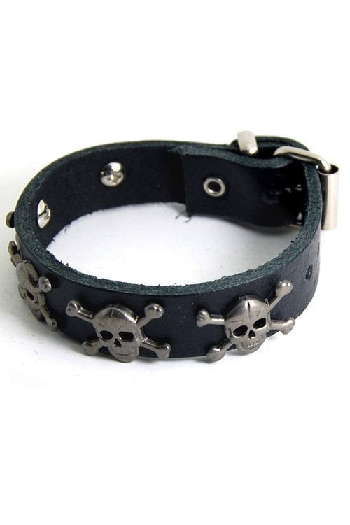 DEA113 1 Row Skull and Bones Studded Leather Wristband. Rock