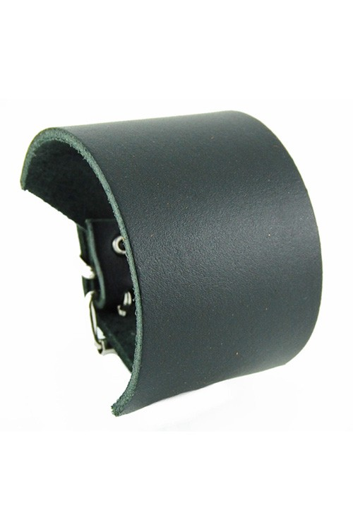 DEA173-BLK Medium Plain Black Leather Wristband