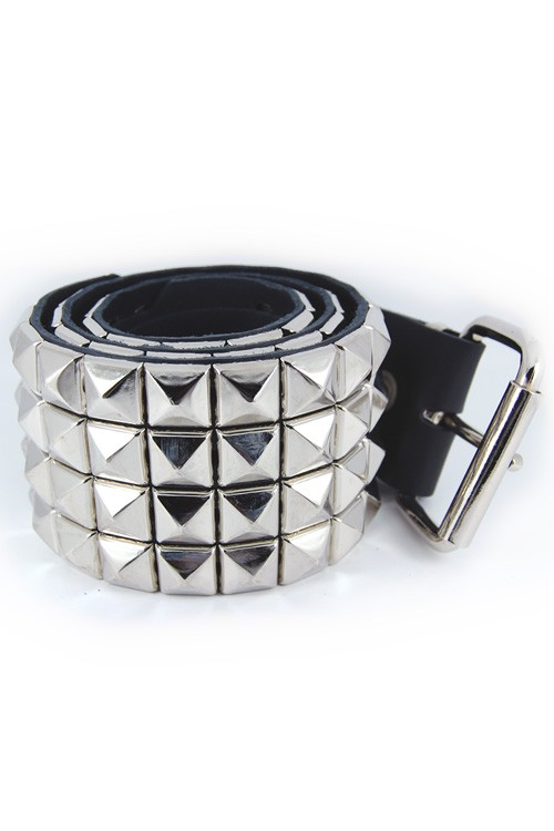 DEB122 4 Row Pyramid Stud Leather Belt
